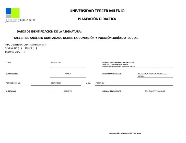 Planeación didáctica dra. rivera taller de analisiscomparadosobrelacondicionyposicionjuridico  social