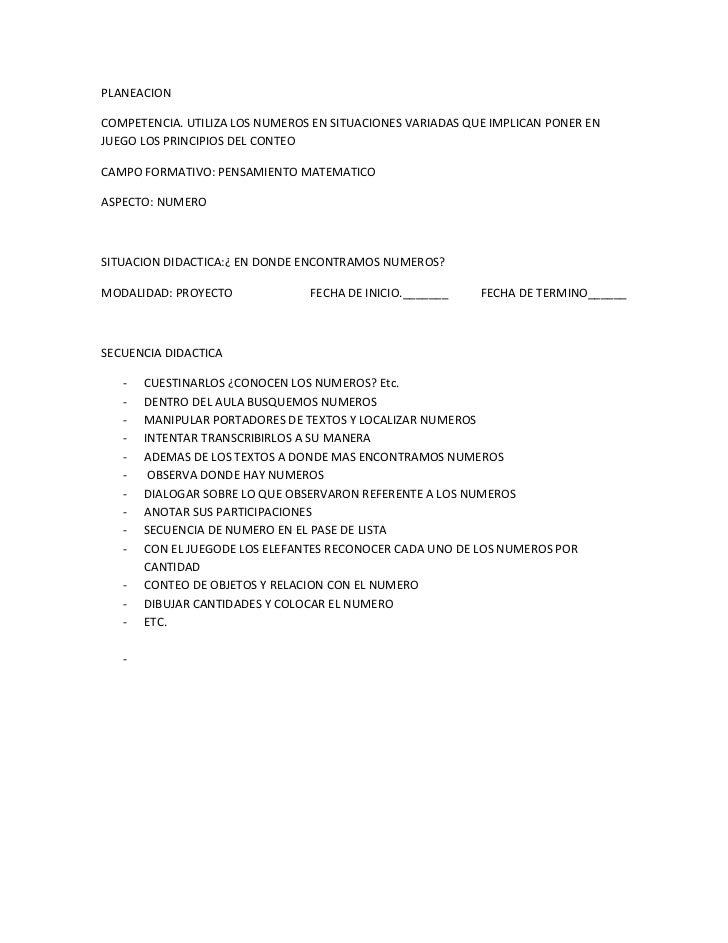 PLANEACION<br />COMPETENCIA. UTILIZA LOS NUMEROS EN SITUACIONES VARIADAS QUE IMPLICAN PONER EN JUEGO LOS PRINCIPIOS DEL CO...