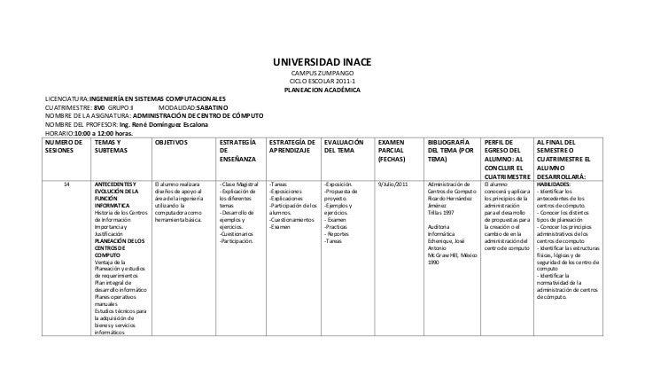 Planeacion ADMINISTRACION DE CENTROS DE COMPUTO