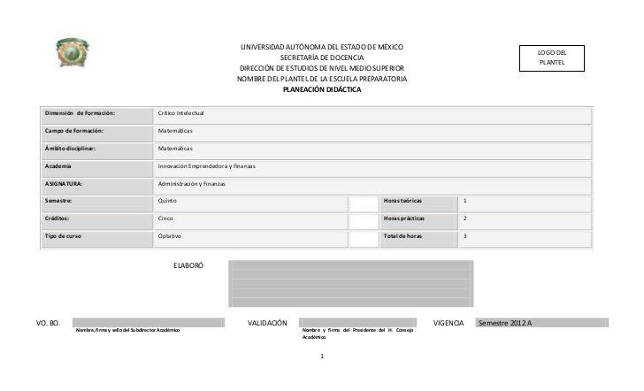 Planeacion administracion y finanzas