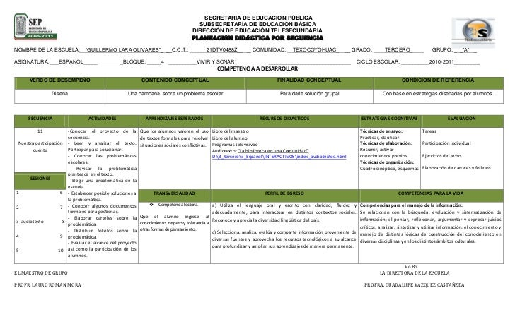 Planeacion de español, secuencia 11, tercer grado.