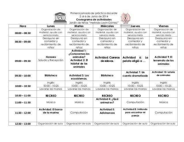 """Primera jornada de práctica docente 2 al 6 de Junio de 2014 Cronograma de actividades Jardín de Niños """"Herlinda Lavín Góme..."""