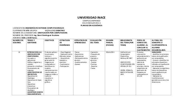 UNIVERSIDAD INACE<br />CAMPUS ZUMPANGO<br />CICLO ESCOLAR 2011-1<br />PLANEACION ACADÉMICA<br />LICENCIATURA: INGENIERÍA E...