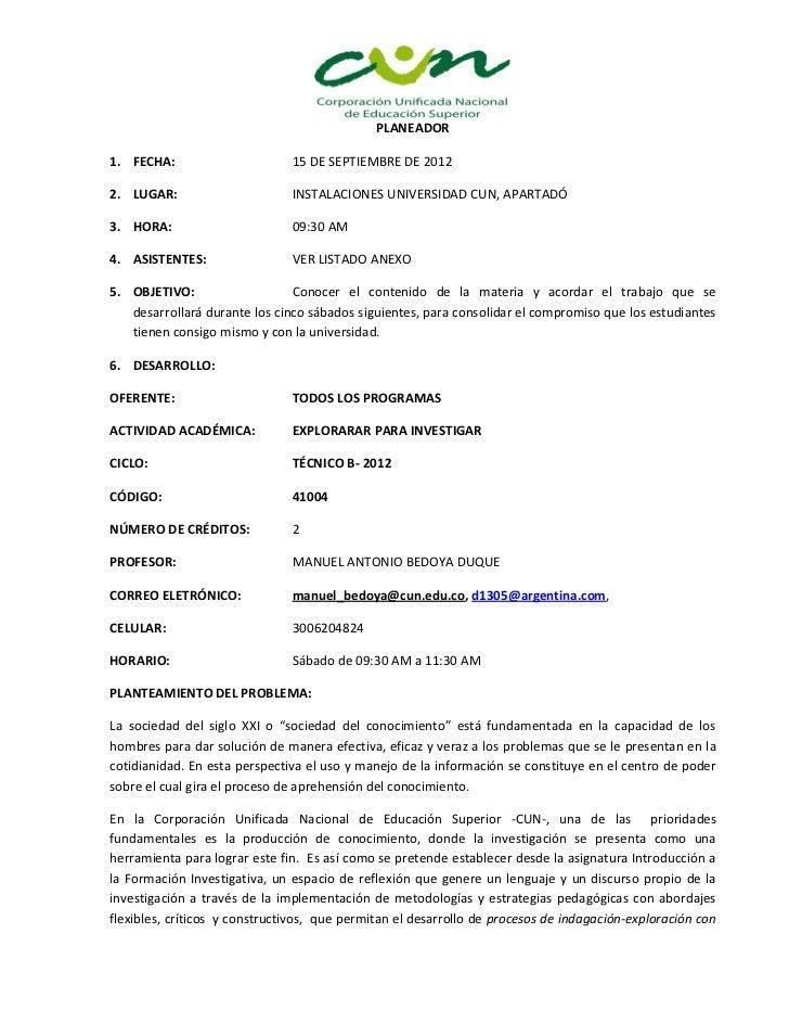 PLANEADOR1. FECHA:                      15 DE SEPTIEMBRE DE 20122. LUGAR:                      INSTALACIONES UNIVERSIDAD C...