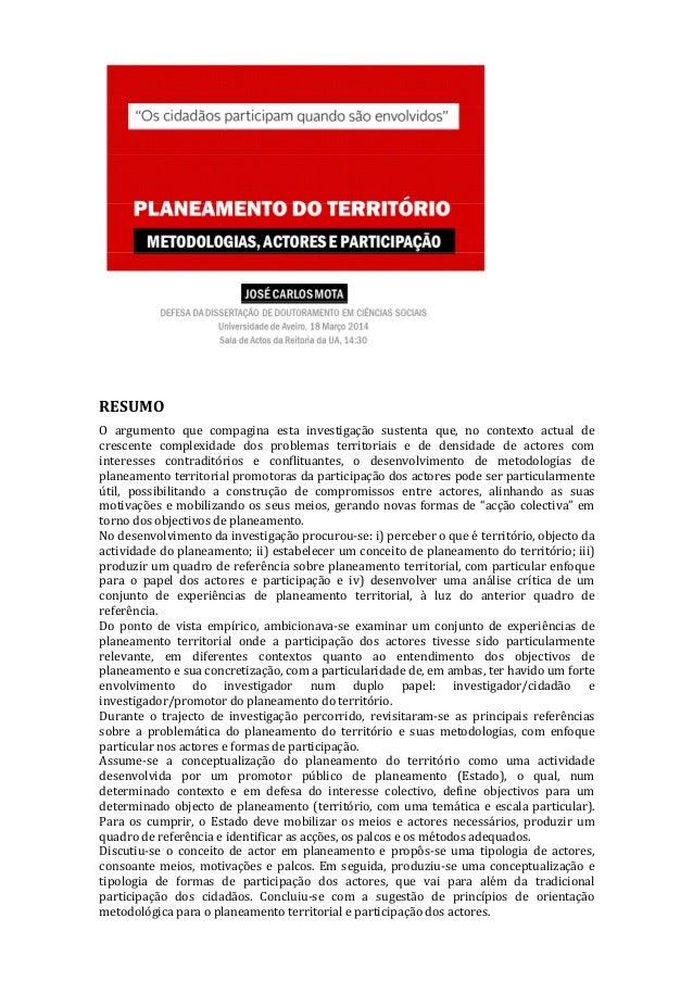 Planeamento do território: metodologias actores e participação - resumo de dissertação de doutoramento