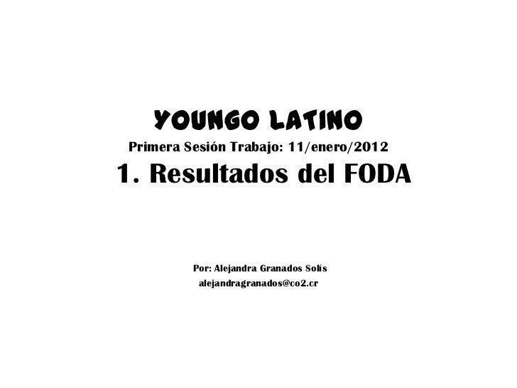 YOUNGO LATINO Primera Sesión Trabajo: 11/enero/20121. Resultados del FODA          Por: Alejandra Granados Solís          ...