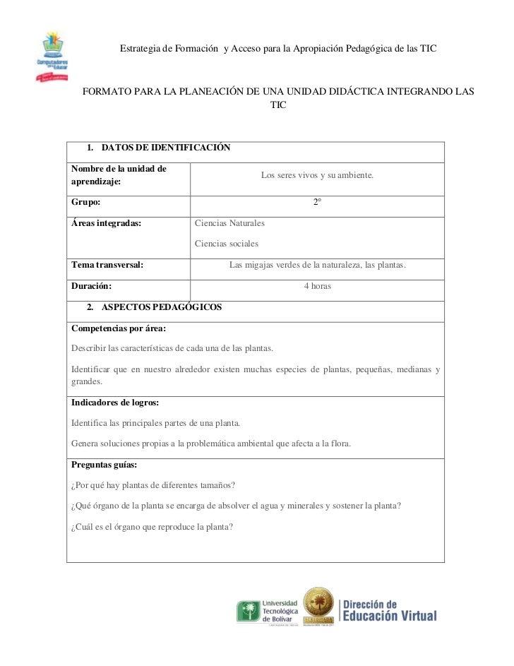 Estrategia de Formación y Acceso para la Apropiación Pedagógica de las TIC   FORMATO PARA LA PLANEACIÓN DE UNA UNIDAD DIDÁ...