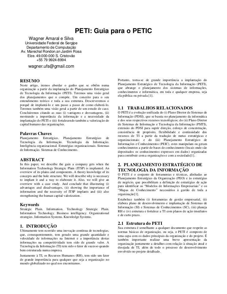 PETI: Guia para o PETIC       Wagner Amaral e Silva   Universidade Federal de Sergipe    Departamento de Computação Av. Ma...