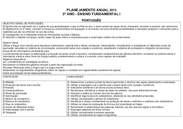 PLANEJAMENTO ANUAL 2013                                                        3º ANO - ENSINO FUNDAMENTAL I              ...