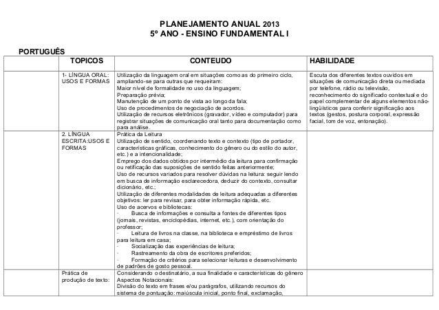 PLANEJAMENTO ANUAL 2013                                         5º ANO - ENSINO FUNDAMENTAL IPORTUGUÊS            TOPICOS ...