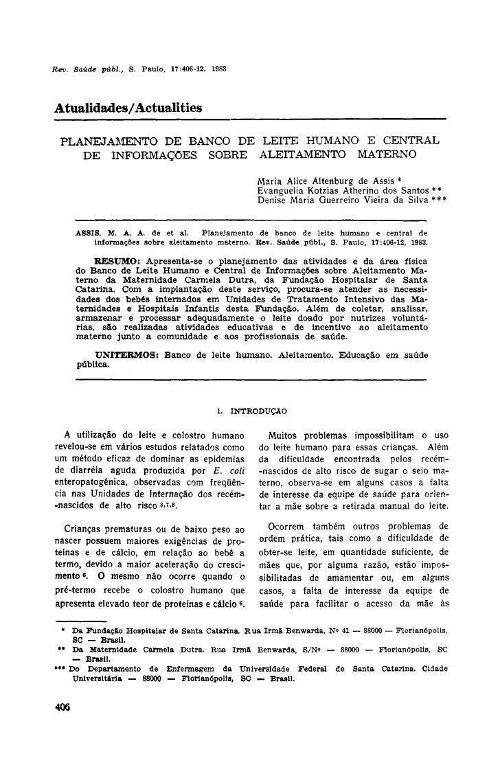 Atualidades/Actualities   PLANEJAMENTO DE BANCO DE LEITE HUMANO E CENTRAL     DE INFORMAÇÕES SOBRE ALEITAMENTO MATERNO    ...