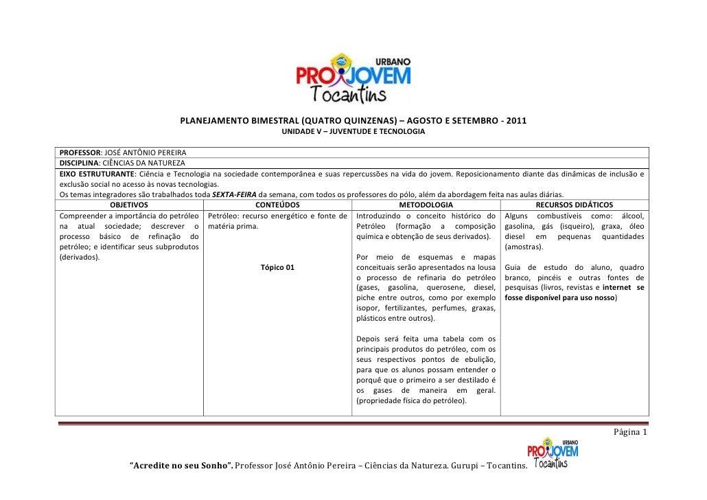 PLANEJAMENTO BIMESTRAL (QUATRO QUINZENAS) – AGOSTO E SETEMBRO - 2011                                                      ...
