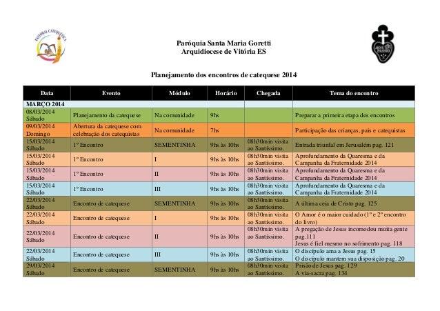 Paróquia Santa Maria Goretti Arquidiocese de Vitória ES Planejamento dos encontros de catequese 2014 Data Evento Módulo Ho...