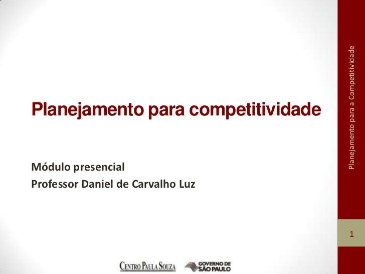 Planejamento para a CompetitividadePlanejamento para competitividadeMódulo presencialProfessor Daniel de Carvalho Luz     ...