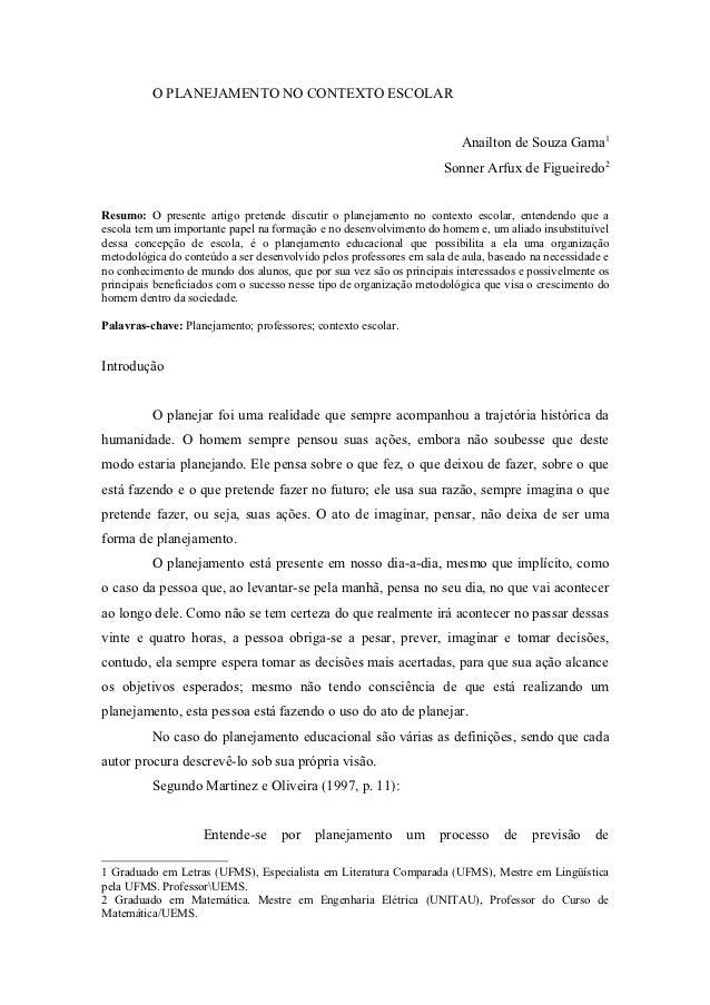 O PLANEJAMENTO NO CONTEXTO ESCOLAR                                                                         Anailton de Sou...