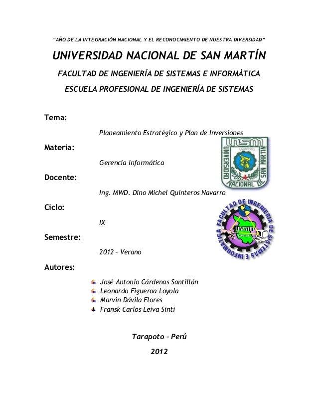 """""""AÑO DE LA INTEGRACIÓN NACIONAL Y EL RECONOCIMIENTO DE NUESTRA DIVERSIDAD""""  UNIVERSIDAD NACIONAL DE SAN MARTÍN   FACULTAD ..."""