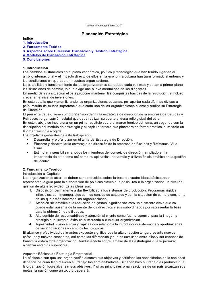 www.monografias.com                                      Planeación EstratégicaIndice1. Introducción2. Fundamento Teórico3...