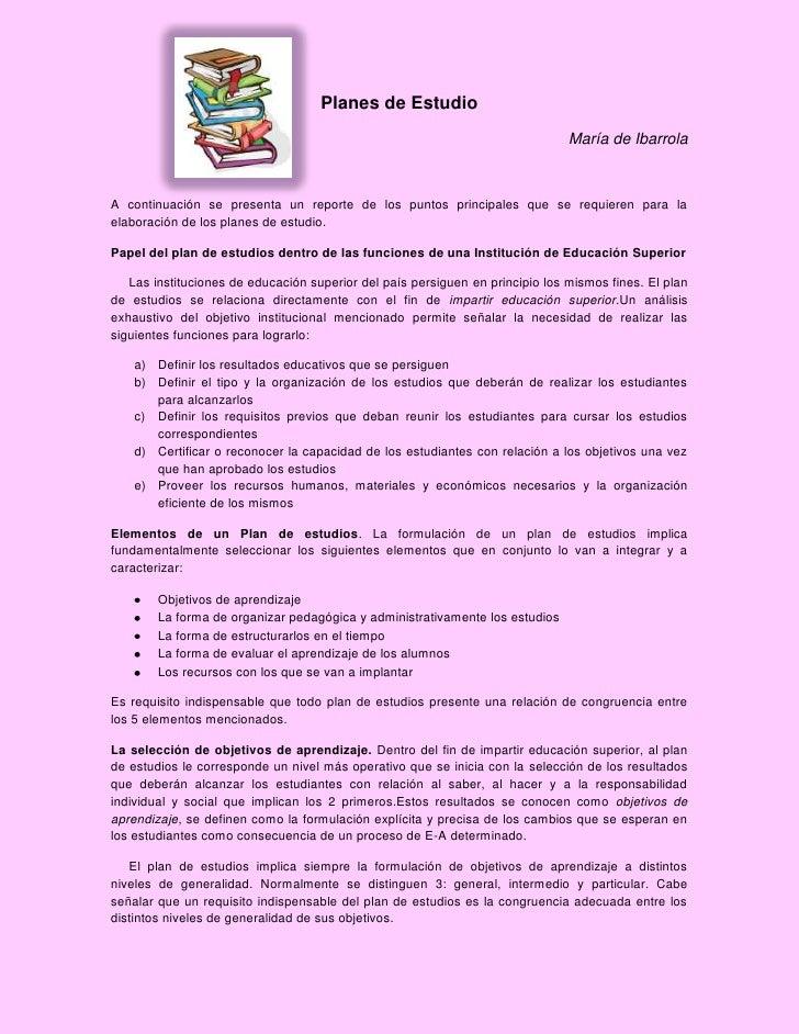 Planes de Estudio                                                                               María de IbarrolaA continu...
