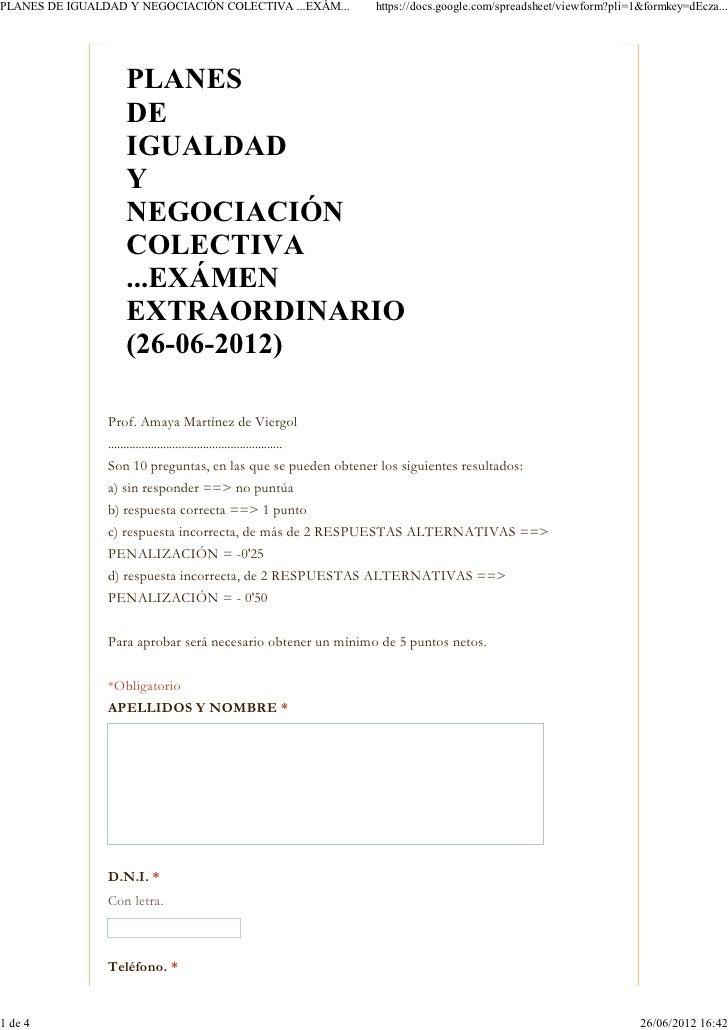 (Planes de igualdad y negociación colectiva ...exámen extraordinario  (26 06-2012-))