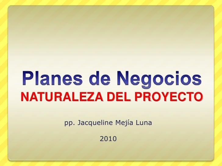 Planes de NegociosNATURALEZA DEL PROYECTO<br />pp. Jacqueline Mejía Luna<br />2010<br />