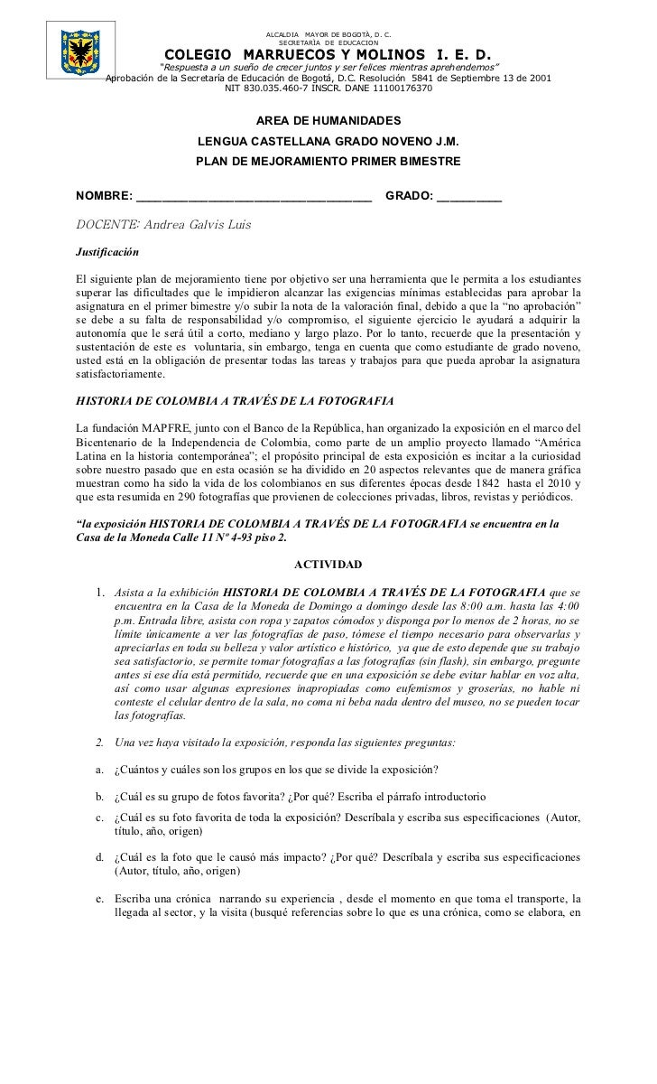 ALCALDIA MAYOR DE BOGOTÀ, D. C.                                           SECRETARÌA DE EDUCACION                  COLEGIO...
