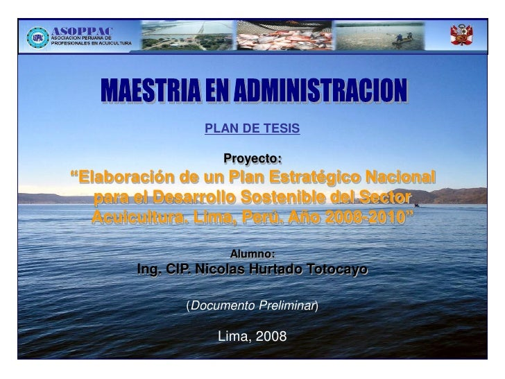 """PLAN DE TESIS                     Proyecto:""""Elaboración de un Plan Estratégico Nacional   para el Desarrollo Sostenible de..."""