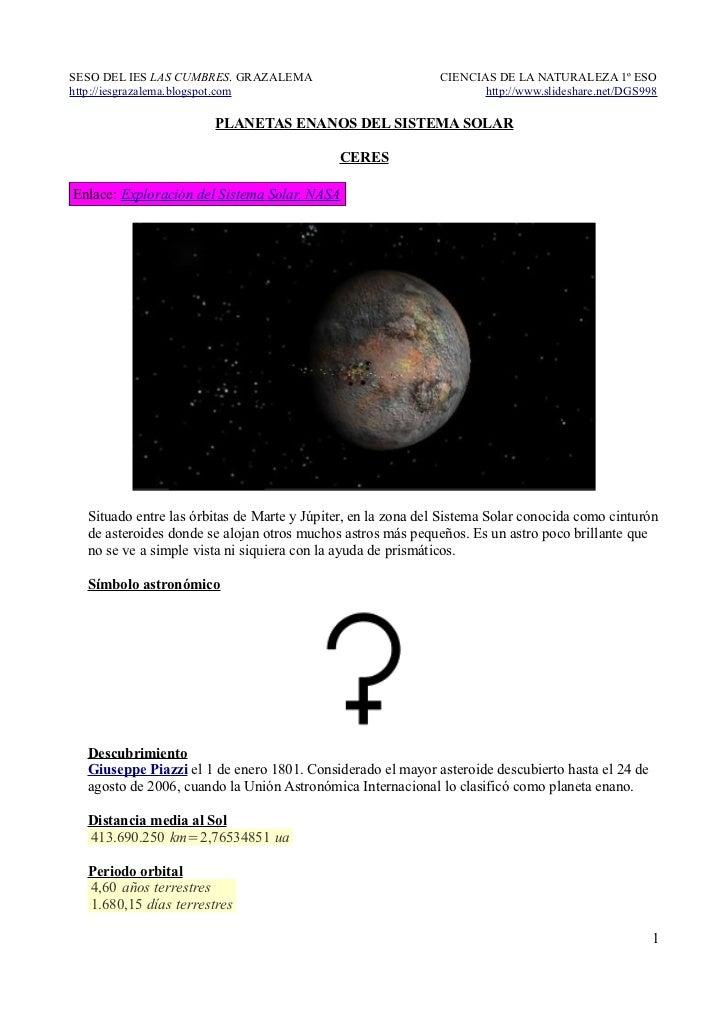 Planetas enanos del Sistema Solar. Ceres