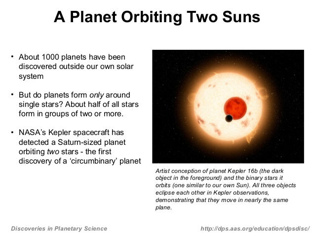 Discoveries in Planetary Science http://dps.aas.org/education/dpsdisc/A Planet Orbiting Two Suns• About 1000 planets have ...