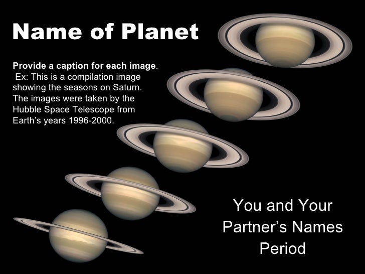 Name of PlanetProvide a caption for each image. Ex: This is a compilation imageshowing the seasons on Saturn.The images we...