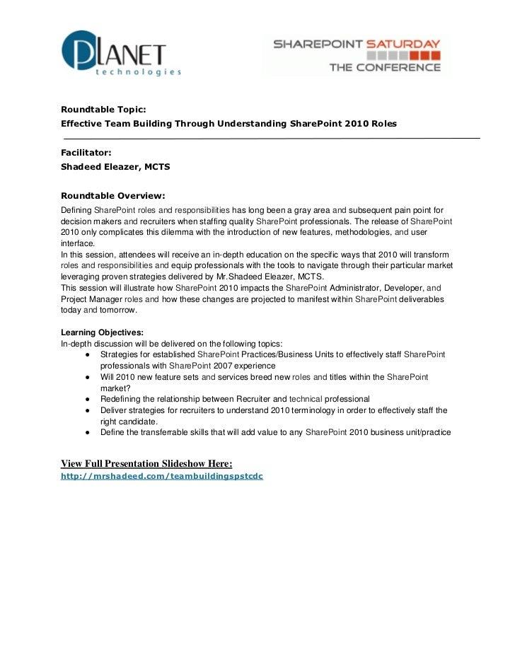 Effective Team Building Through Understanding SharePoint 2010 Roles #spstcdc