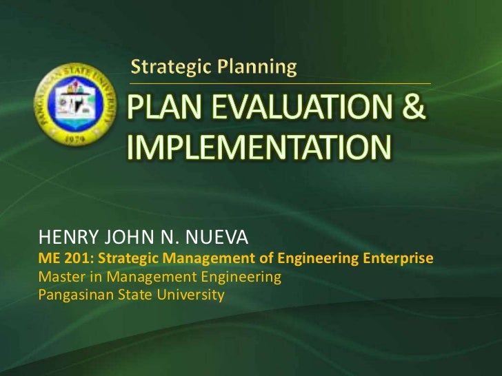 Plan Evaluation & Implementation