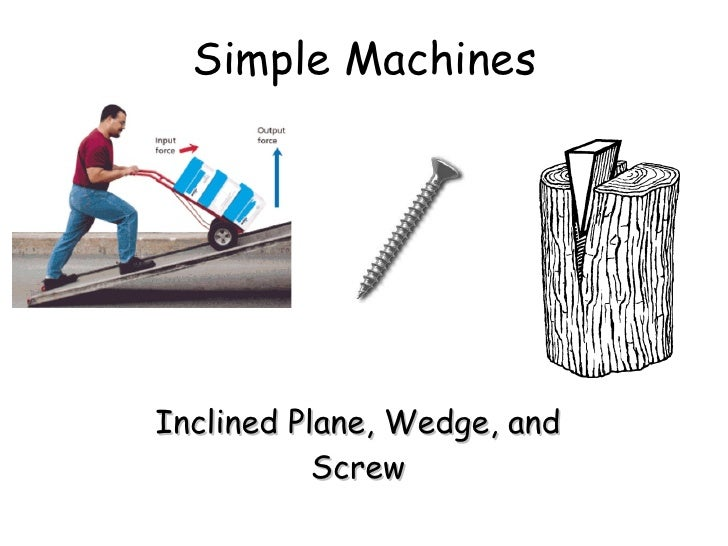 Simple Machines Inclined Plane, Wedge, and Screw