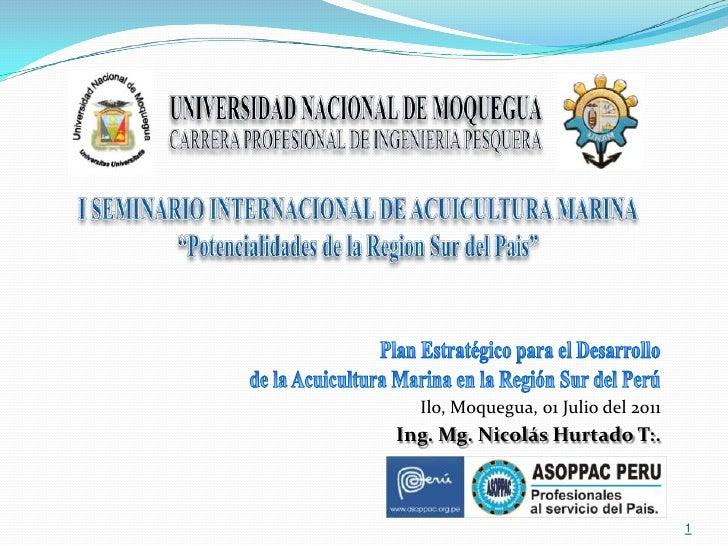 Plan extrategico para el desarrollo de la maricultura en la zona sur del perú