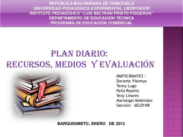 plan diario, recursos, medio y evaluacion