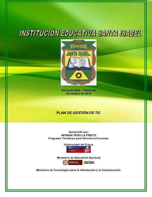 Plan Gestion de TIC Santa Isabel