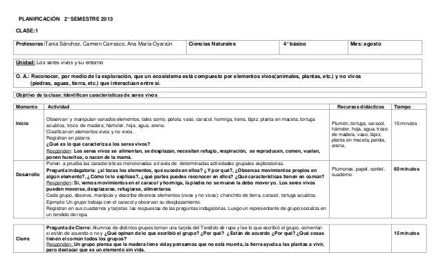 PLANIFICACIÓN 2° SEMESTRE 2013CLASE:1Profesoras:Tania Sánchez, Carmen Carrasco, Ana María Oyarzún                  Ciencia...