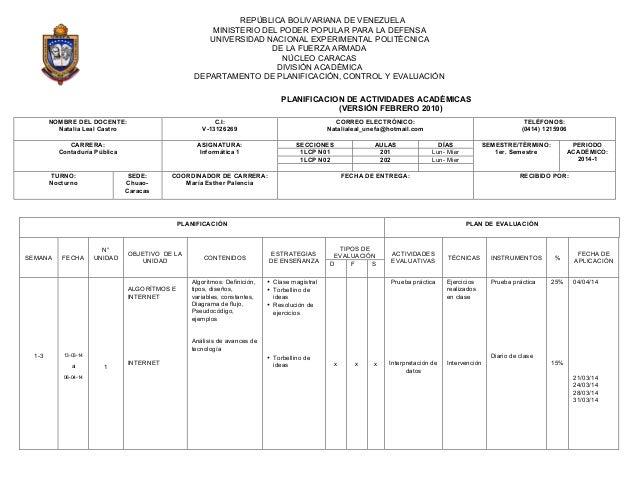 PLANIFICACION DE ACTIVIDADES ACADÉMICAS (VERSIÓN FEBRERO 2010) REPÚBLICA BOLIVARIANA DE VENEZUELA MINISTERIO DEL PODER POP...