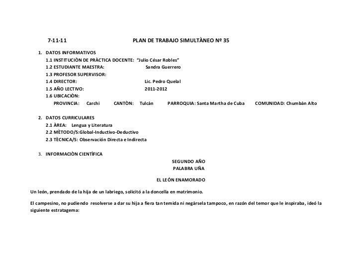7-11-11                                 PLAN DE TRABAJO SIMULTÀNEO Nº 35   1. DATOS INFORMATIVOS      1.1 INSTITUCIÒN DE P...