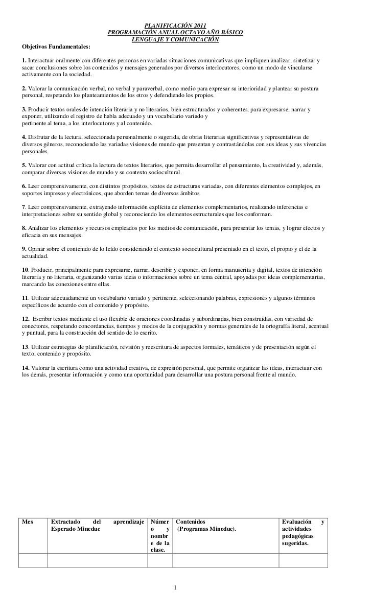 Planific 8 mineduc
