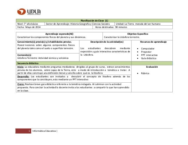 1 Informática Educativa | Planificación de Clase (1) Nivel: 7° año básico Sector de Aprendizaje: Historia Geografía y Cien...