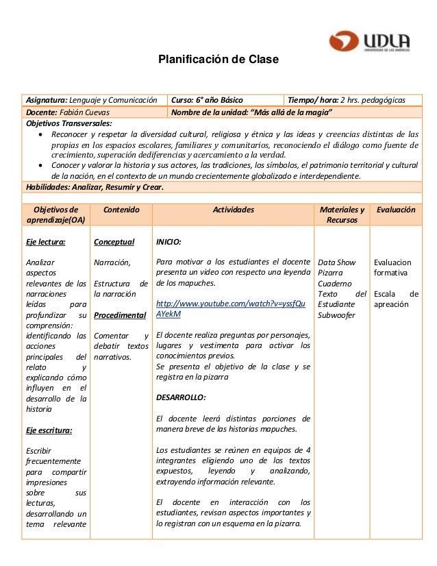 Planificación de Clase Asignatura: Lenguaje y Comunicación Curso: 6° año Básico Tiempo/ hora: 2 hrs. pedagógicas Docente: ...