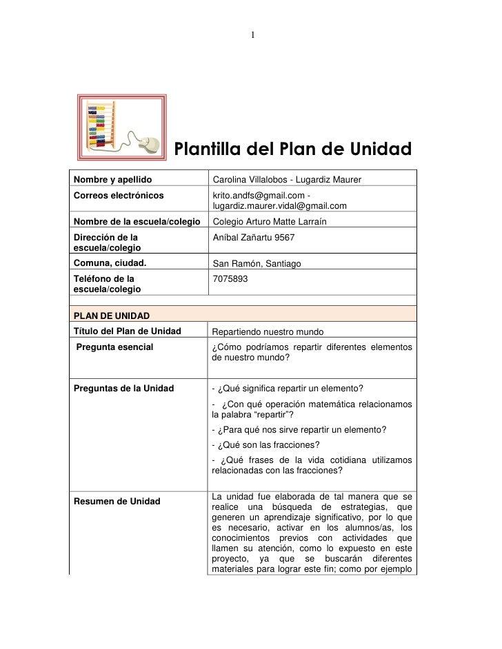 1                       Plantilla del Plan de UnidadNombre y apellido              Carolina Villalobos - Lugardiz MaurerCo...