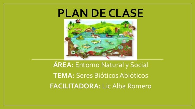 PLAN DE CLASE  ÁREA: Entorno Natural y Social  TEMA: Seres Bióticos Abióticos  FACILITADORA: Lic Alba Romero
