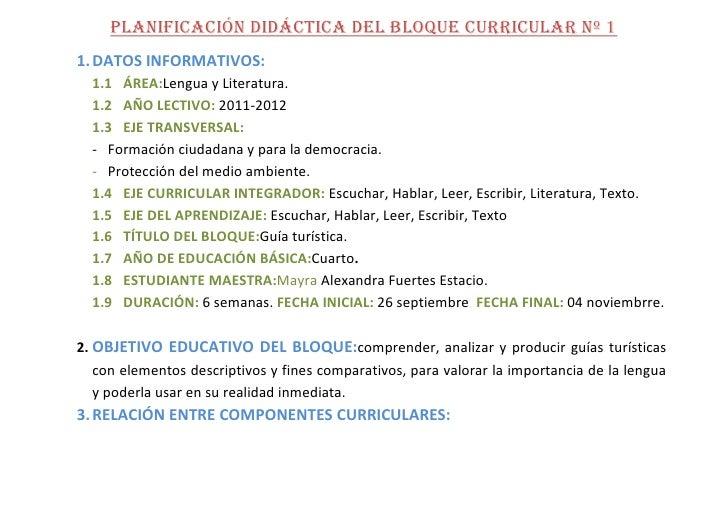 PLANIFICACIÓN DIDÁCTICA DEL BLOQUE CURRICULAR Nº 1<br />DATOS INFORMATIVOS:<br />ÁREA:Lengua y Literatura.<br />AÑO LECTIV...