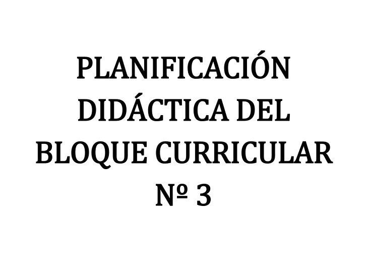 PLANIFICACIÓN  DIDÁCTICA DELBLOQUE CURRICULAR       Nº 3