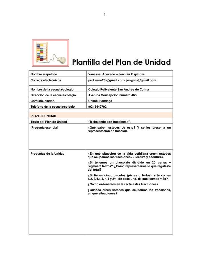 1                            Plantilla del Plan de UnidadNombre y apellido                 Vanessa Acevedo – Jennifer Espi...