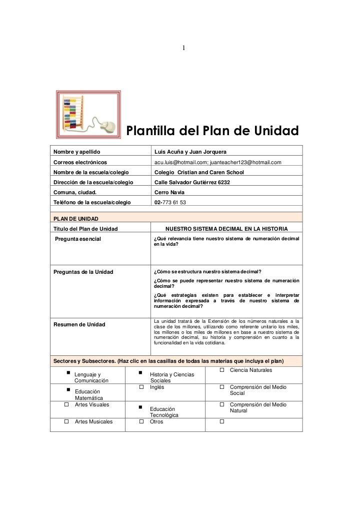 1                             Plantilla del Plan de UnidadNombre y apellido                       Luis Acuña y Juan Jorque...