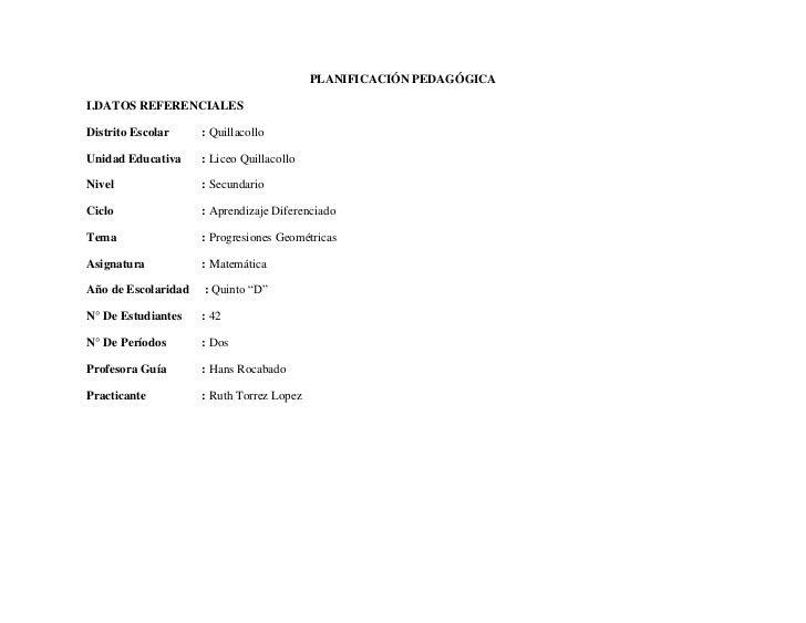 PLANIFICACIÓN PEDAGÓGICAI.DATOS REFERENCIALESDistrito Escolar     : QuillacolloUnidad Educativa     : Liceo QuillacolloNiv...