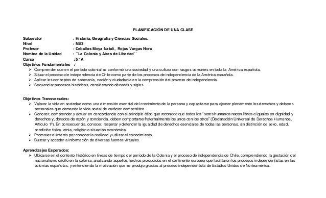 PLANIFICACIÓN DE UNA CLASESubsector : Historia, Geografía y Ciencias Sociales.Nivel : NB3Profesor : Ceballos Moya Natali, ...