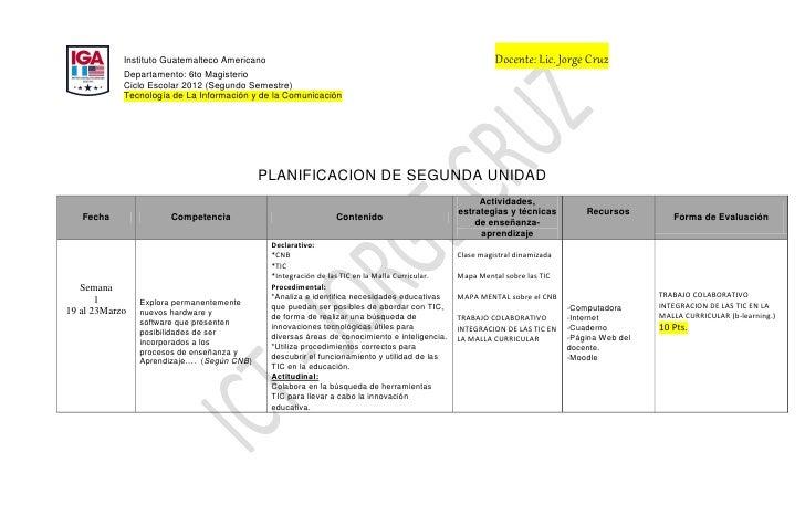 Instituto Guatemalteco Americano                                                             Docente: Lic. Jorge Cruz     ...